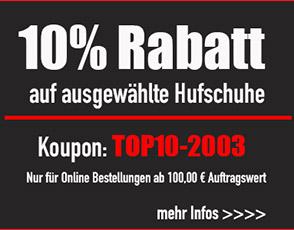 10% Rabatt auf ausgewählte Hufschuhe